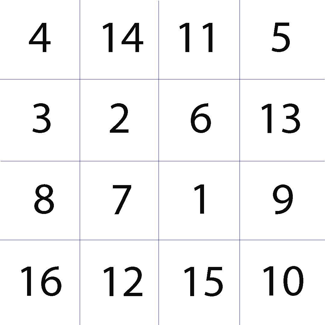 Таблица Шульте 4х4, распечатать бесплатно