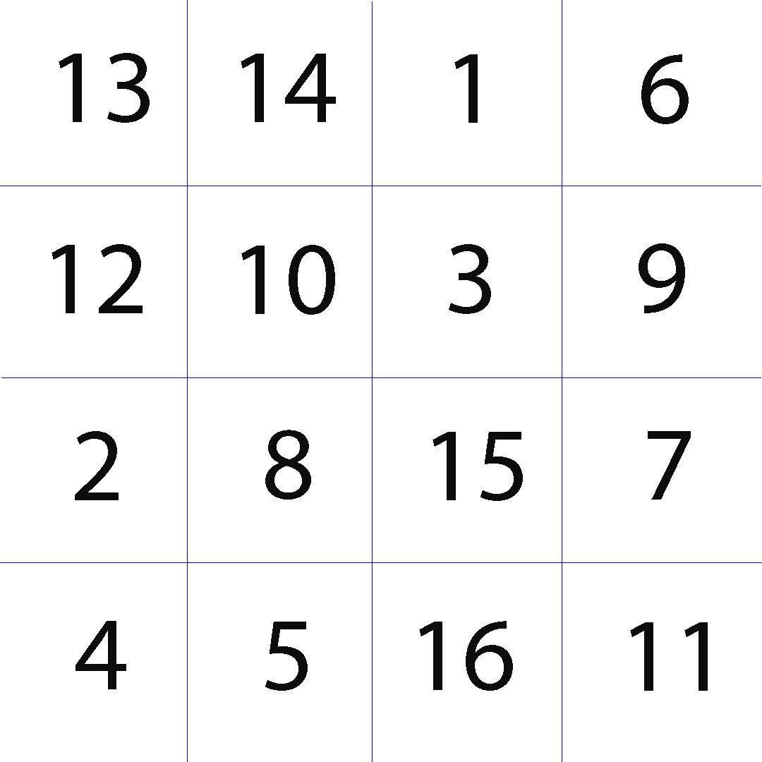 Таблица Шульте 4х4 для тренировки