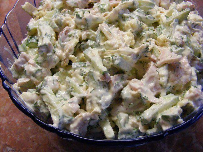Салат курица, грибы фото