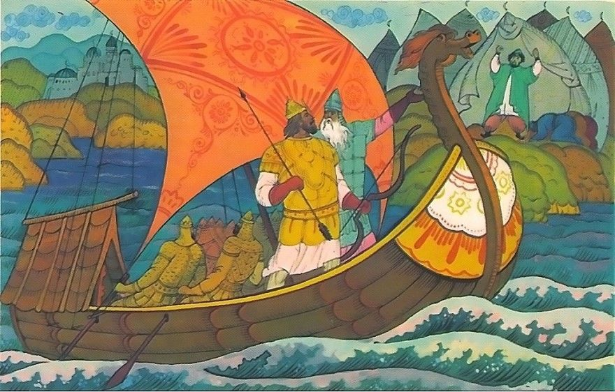 Читать русскую народную былину Богатыри на Соколе-корабле
