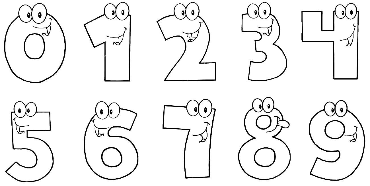 Цифры раскраски для детей распечатать