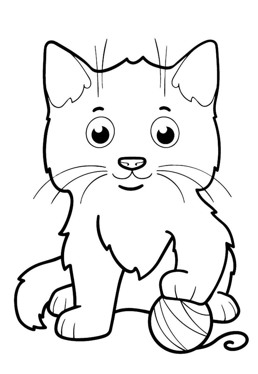 Кот раскраски для детей распечатать девочек мальчиков