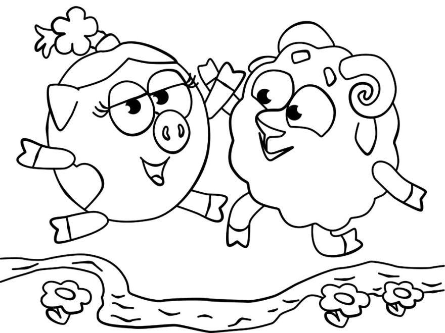 Смешарики раскраски для детей распечатать