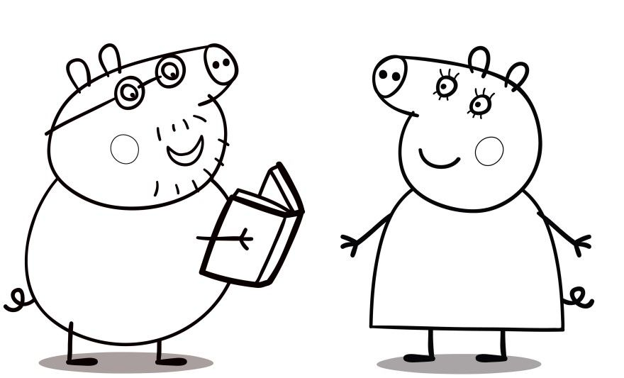 Свинка Пеппа раскраски для детей распечатать