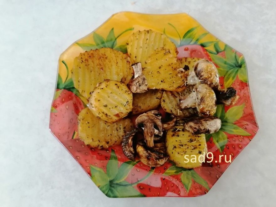 Картошка с грибами в духовке фото рецепт пошагово