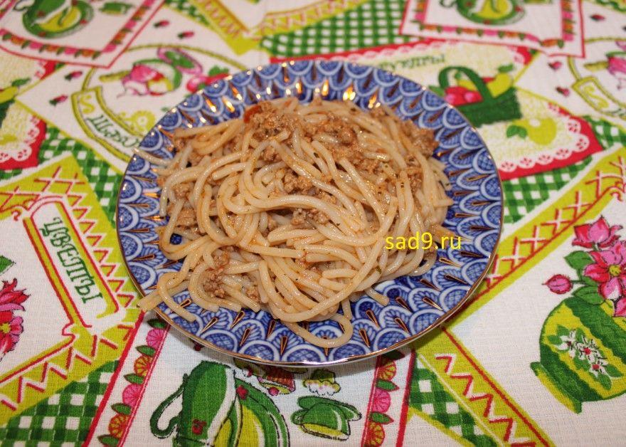 Спагетти с фаршем сковороде фото рецепт способ приготовления