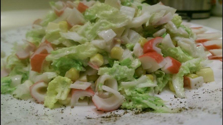 Крабовый салат рецепт классический с пекинской капустой