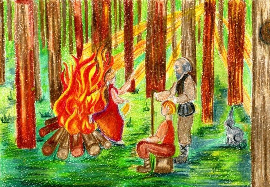 Читать сказку Бажов Огневушка-Поскакушка для детей